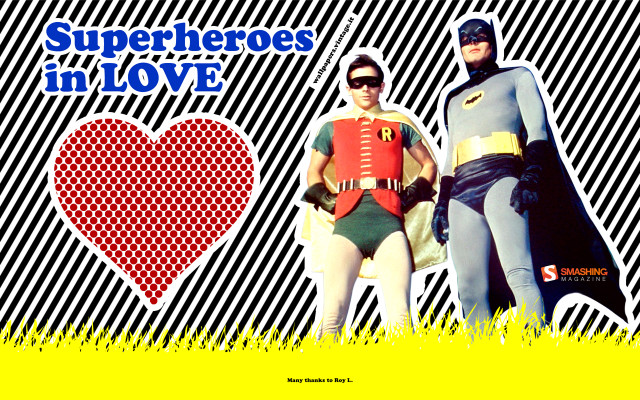 Superheroes in love - Batman & Robin wallpaper